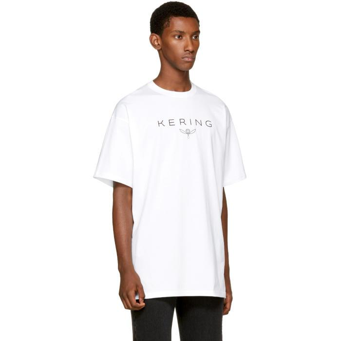 Lyst balenciaga white 39 kering 39 t shirt in white for men for Balenciaga t shirt red