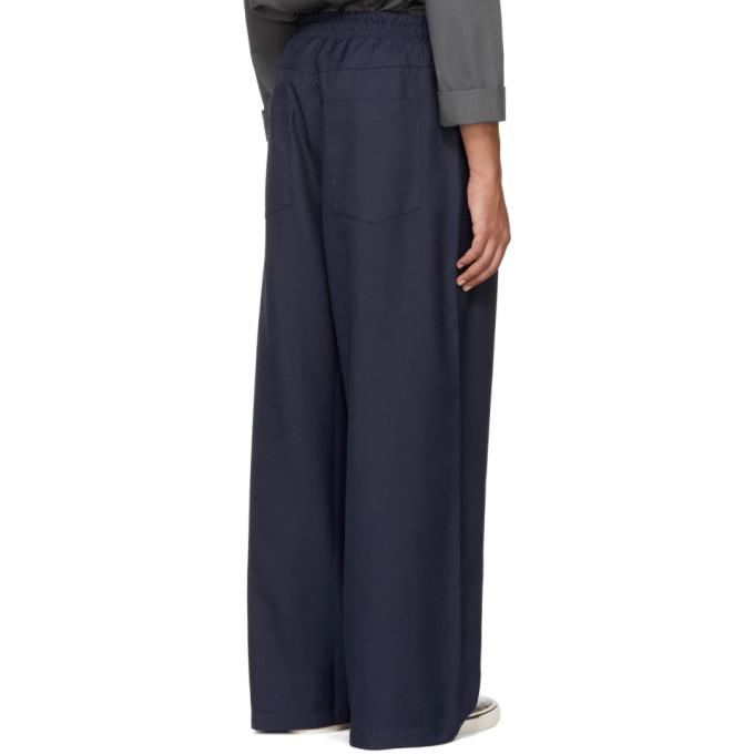 Sunnei Navy Loose Fit Trousers in Blue for Men