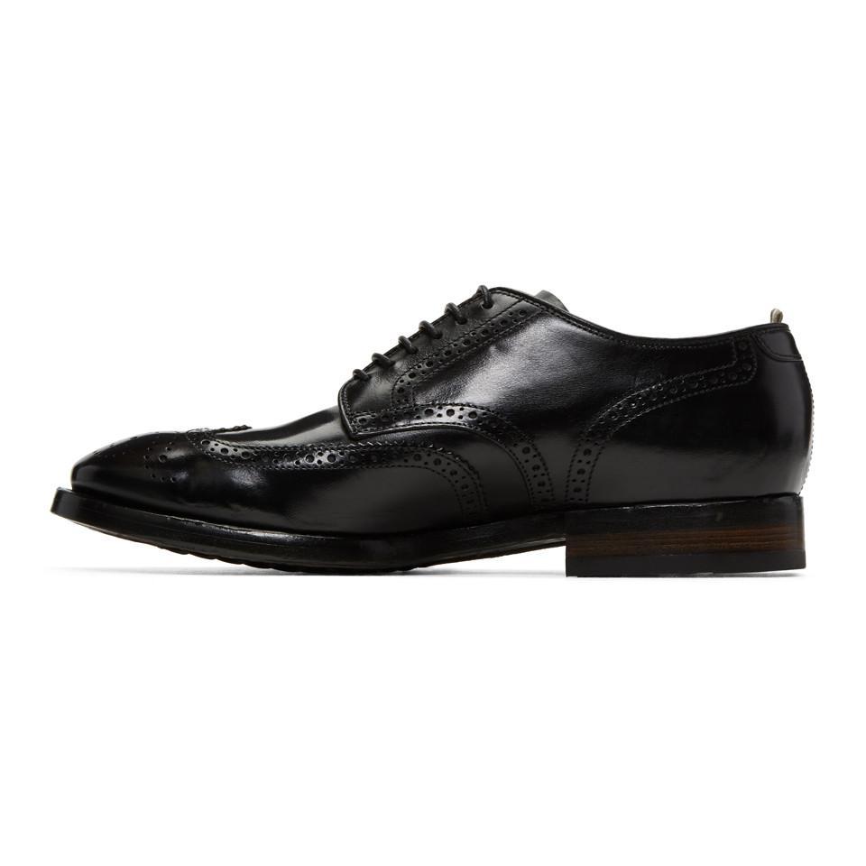 Officine Creative Leather Black Princeton 33 Brogues for Men