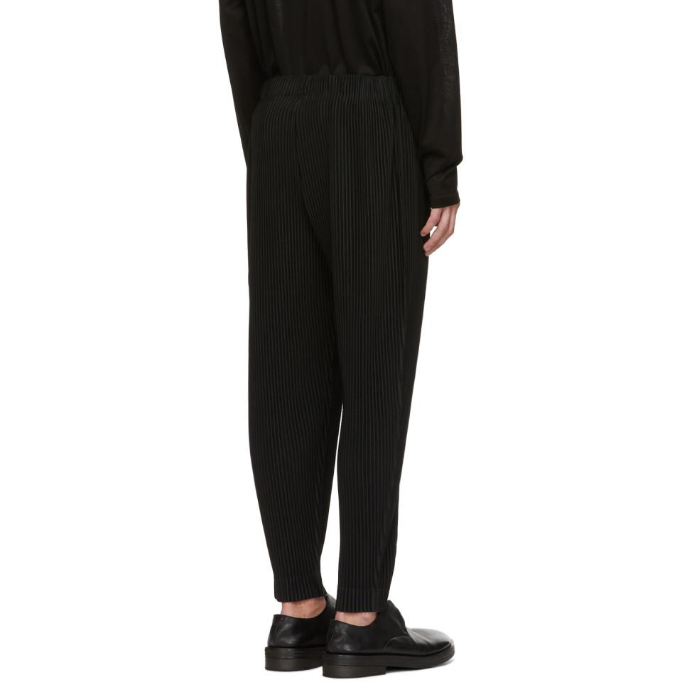 Homme Plissé Issey Miyake Black Mc July Cropped Trousers for Men