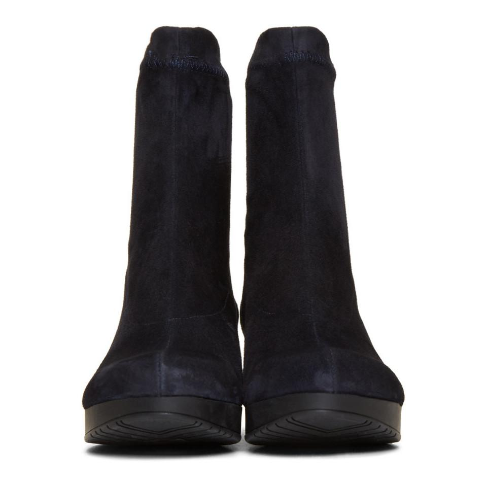 Clergerie Suede Navy Nerdal Boots in Blue