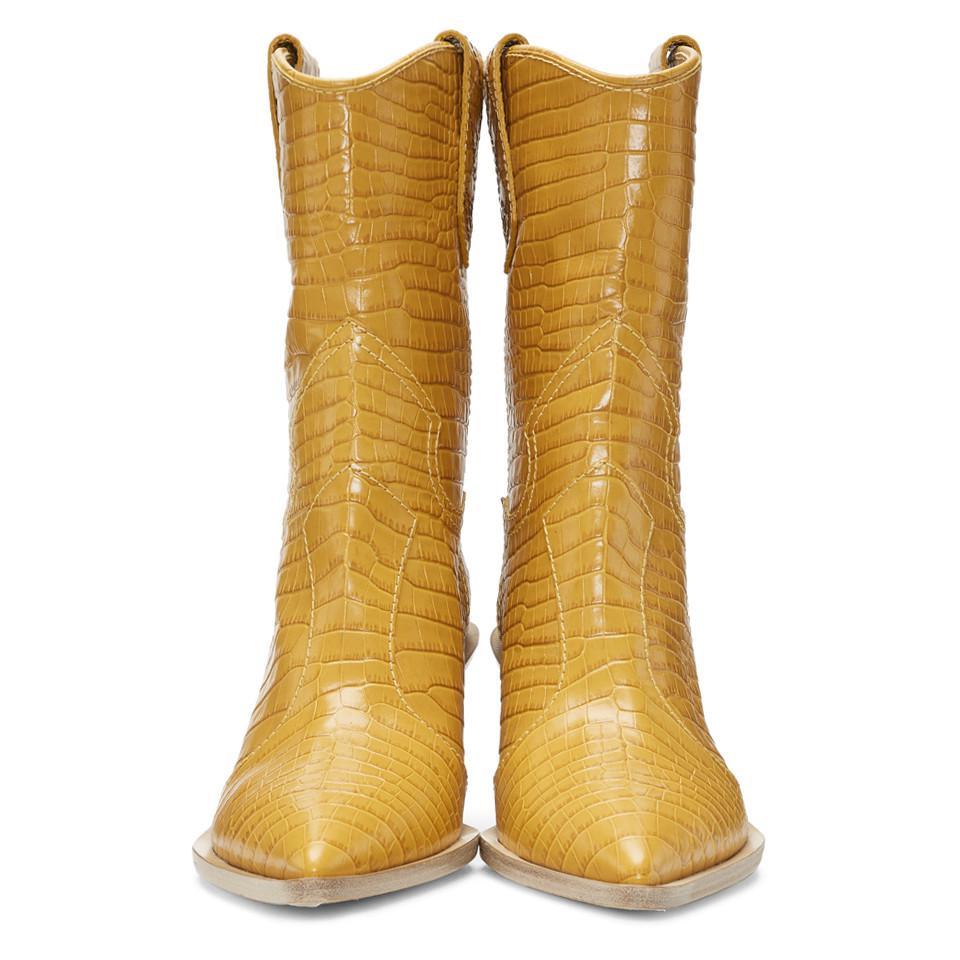 2458ba92b369d Fendi Yellow Croc Cowboy Boots in Yellow - Lyst