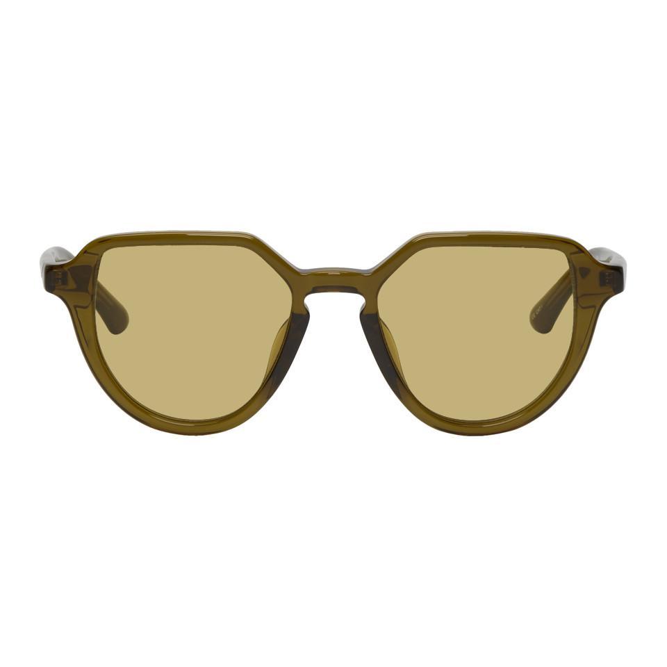 abd266182a Lyst - Dries Van Noten Green Linda Farrow Edition Almond Sunglasses ...