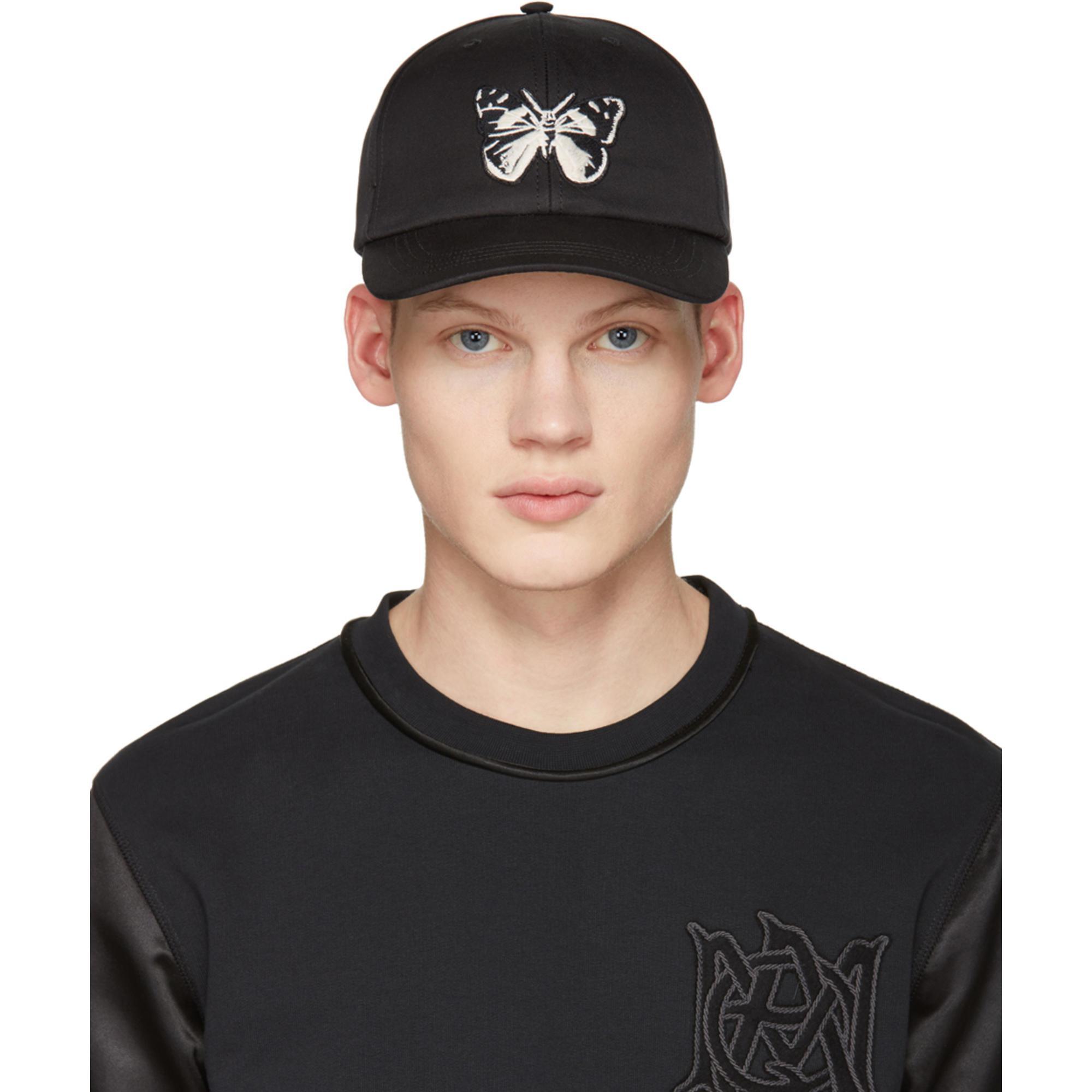 acheter pas cher d5cf4 6e651 Casquette noire Butterfly Alexander McQueen pour homme en coloris Black
