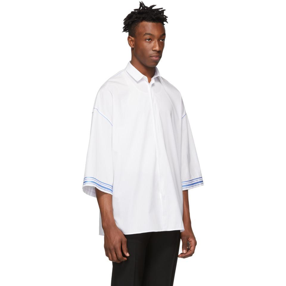 f267d543e3 Lyst - Haider Ackermann White And Blue Cotton Shirt in White for Men