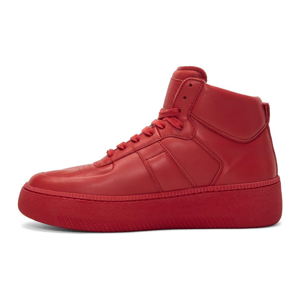 Maison Margiela Red Chunky Sole High-Top Sneakers TbzHV7n