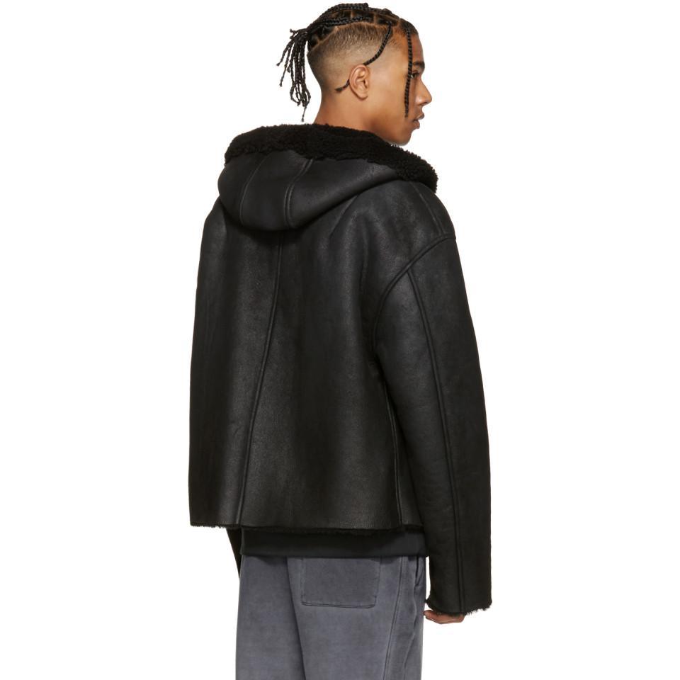 Yeezy Leather Black Short Shearling Jacket For Men Lyst
