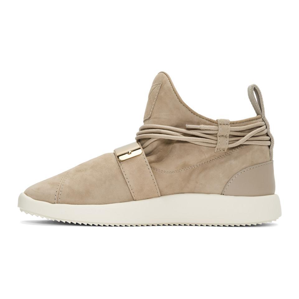 Giuseppe Zanotti Suede Brown Singleg Sneakers