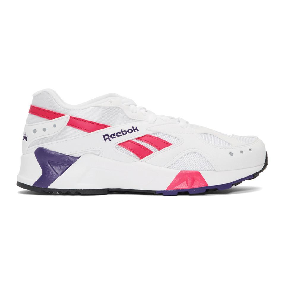 1505fa63e43 Lyst - Reebok White And Pink Aztrek Sneakers for Men