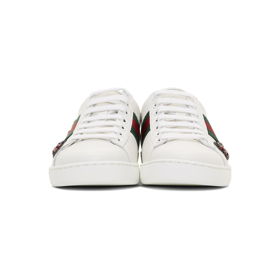 2a0d4c77c45 Gucci - White Ace Arow-embroidered Leather Sneakers - Lyst. View fullscreen