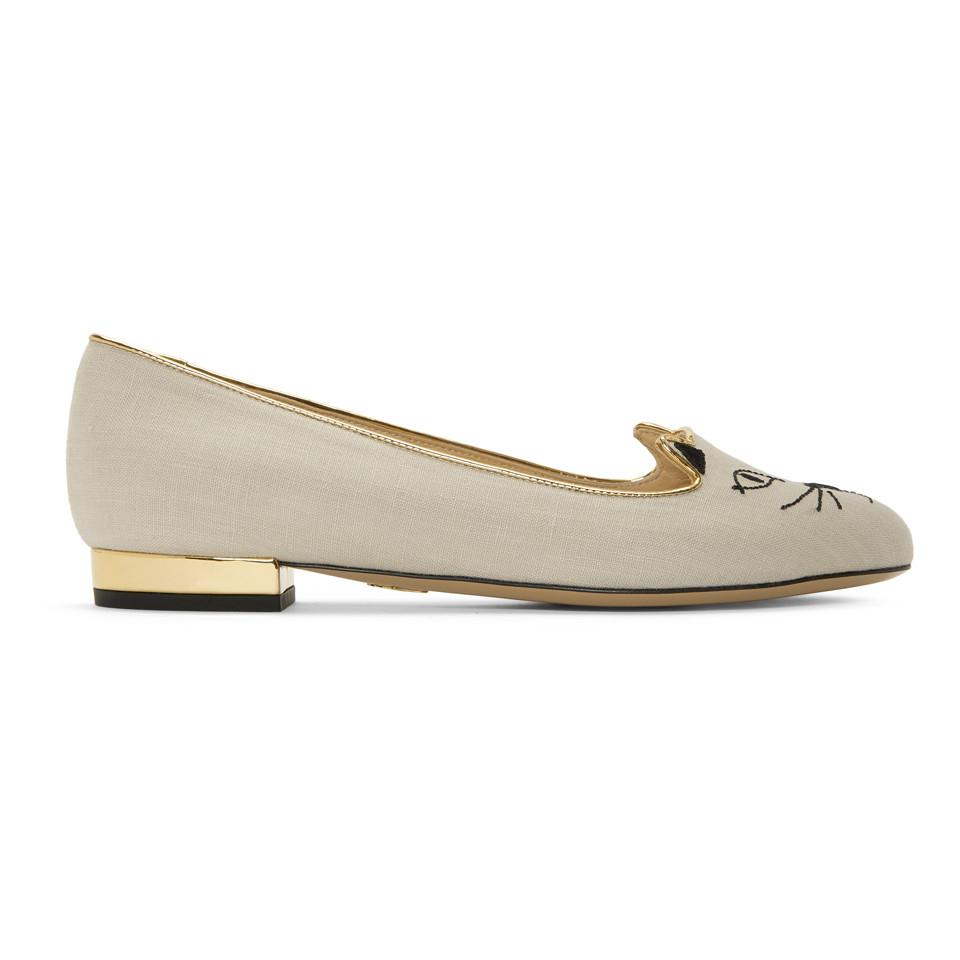 Off-White Linen Kitty Flats Charlotte Olympia Recommend Cheap Online Outlet 100% Authentic The Cheapest Cheap Price Countdown Package Real Cheap Price XSmcOIz
