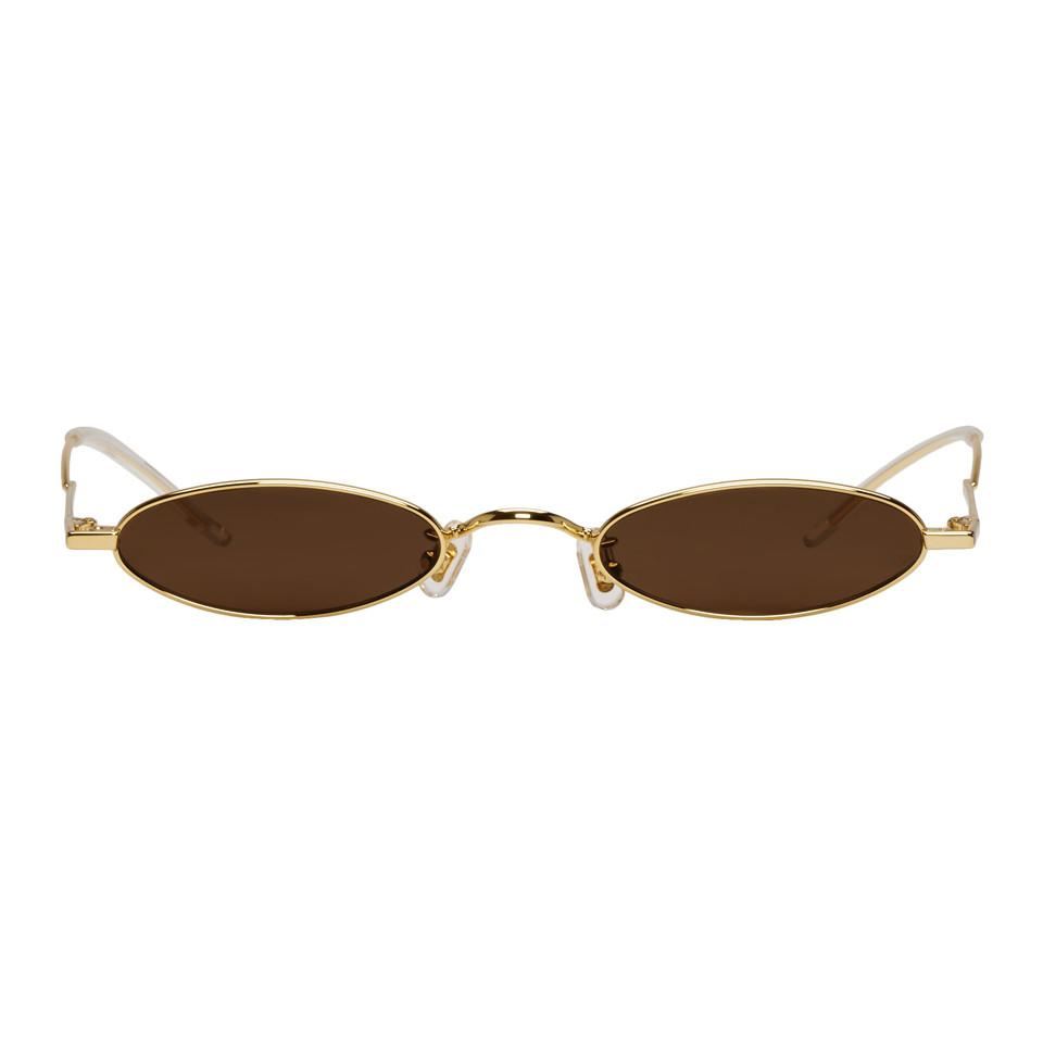 edf5f890ea0c Gentle Monster. Women s Metallic Ssense Exclusive Gold And Brown Vector  Sunglasses