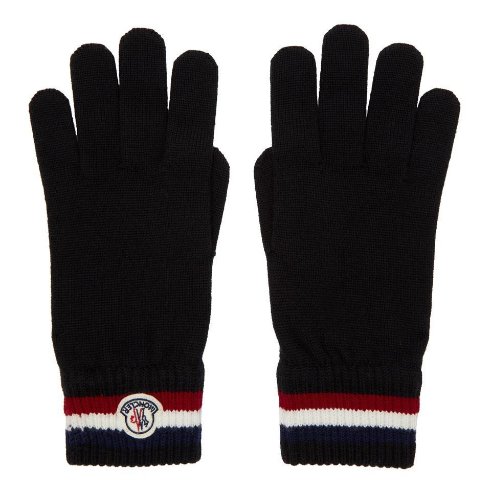 ca4bed542c6 Lyst - Gants en laine noirs Corporate Moncler pour homme en coloris Noir