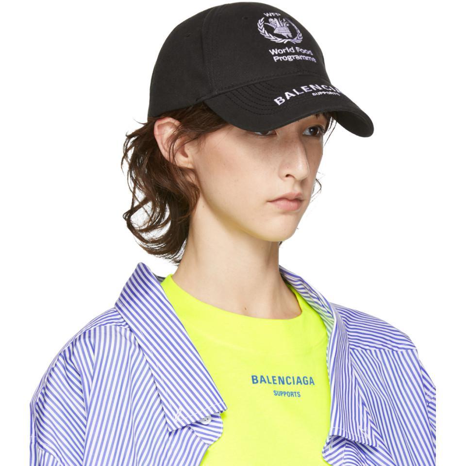 164519ef Balenciaga Black World Food Programme Embroidered Cap in Blue - Lyst