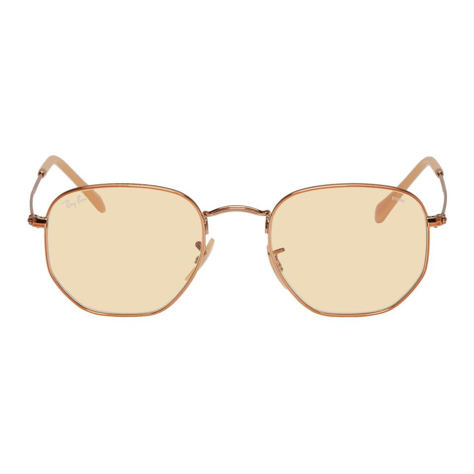 2d3c4282254 Ray-Ban Copper And Yellow Hexagonal Sunglasses for Men - Lyst