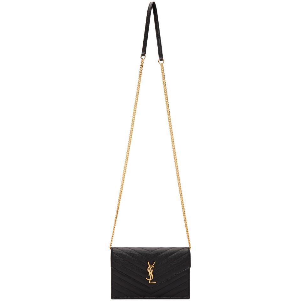 Lyst - Saint Laurent Black And Gold Monogramme Envelope Chain Bag in ... 9a1e062f8e8d7