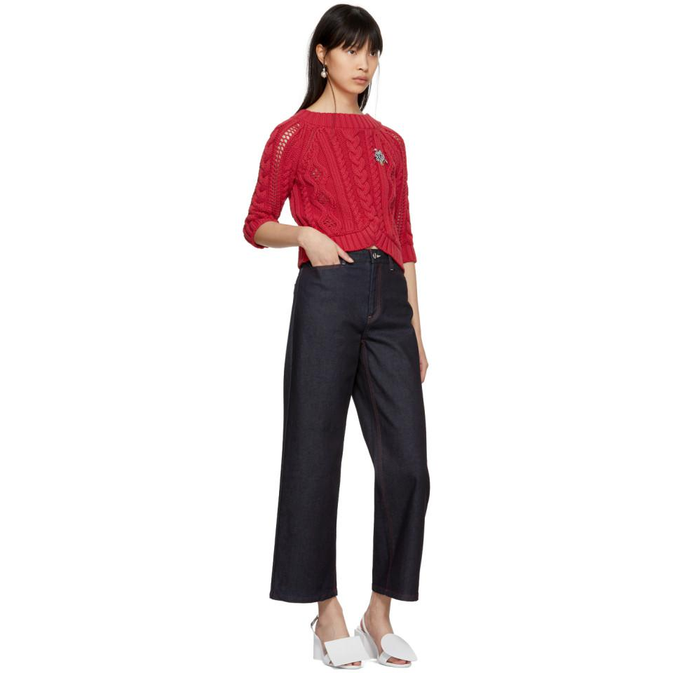 Carven Red Cable Crop Sweater