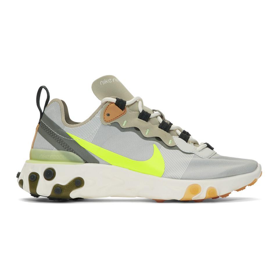 Baskets grises et kaki React Element 55 Nike - Lyst