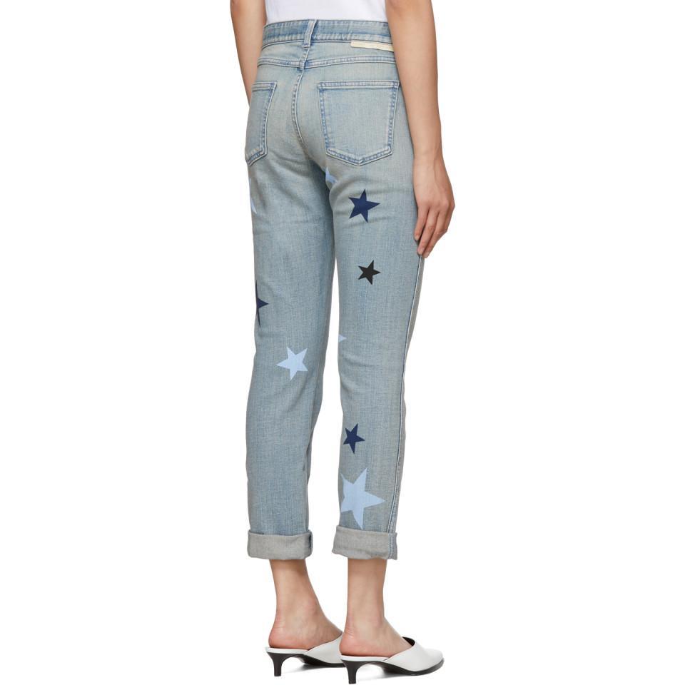 Stella McCartney Denim Blue Stars Skinny Boyfriend Jeans