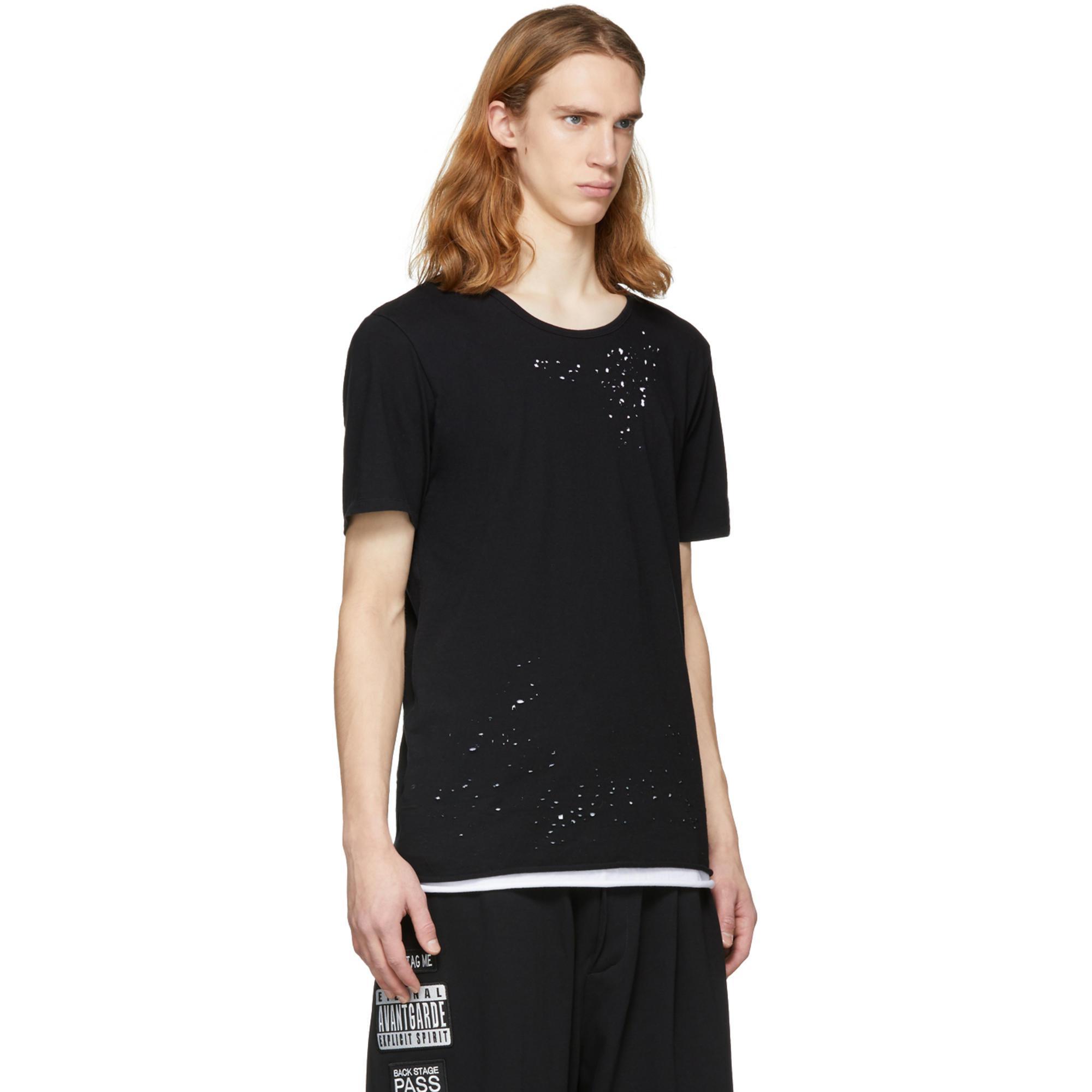 Black and White Striped Damaged Layer T-Shirt Miharayasuhiro Find Great t0ciIlvJZM