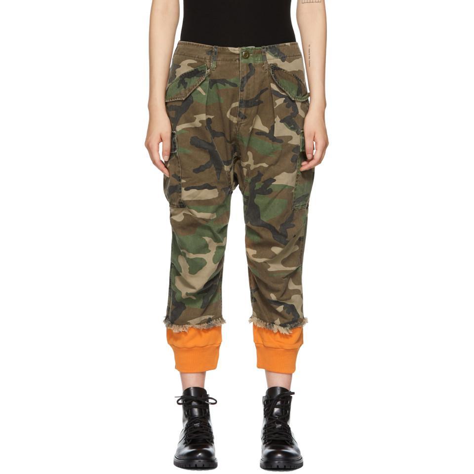 35ee7b5fa8046b R13 Green And Orange Camo Harem Cuffs Cargo Trousers in Green - Save ...
