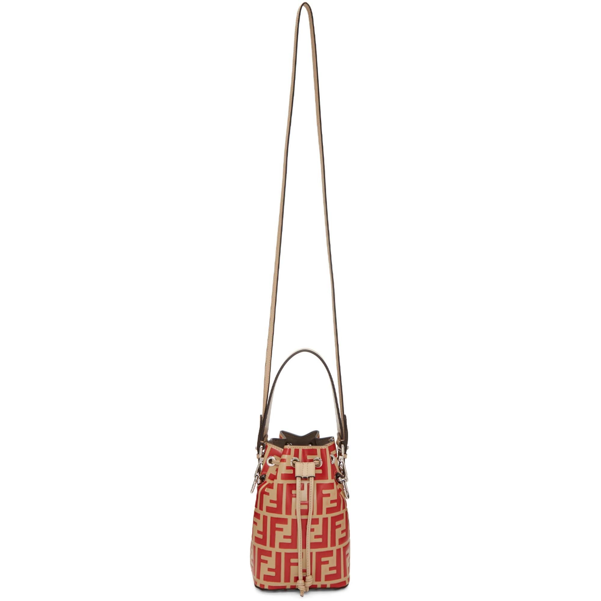 43709d48c791 8d839 4aac7  clearance fendi beige and red mini mon tresor forever bag in  natural lyst ed8df c2ebc
