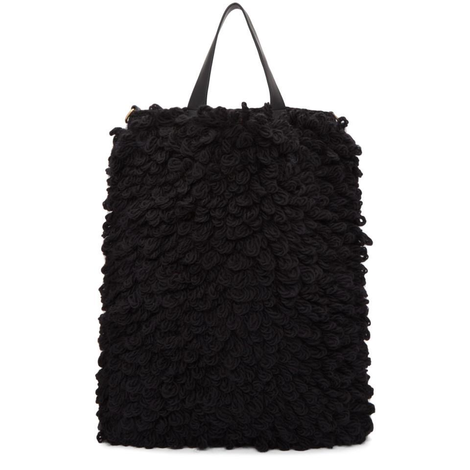 Anya Hindmarch Wool Black Shag Shop Eyes Shopper Tote