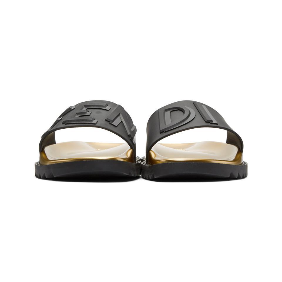 Fendi Black & Gold Rubber ' Vocabulary' Sandals En Ligne Bon Marché Acheter Pas Cher Bonne Vente 5lWmBejq