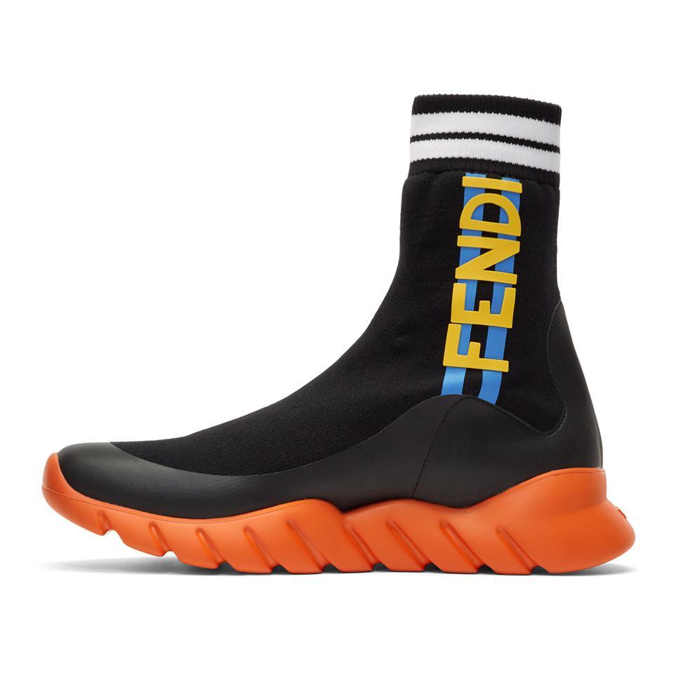 Fendi Rubber Black \u0026 Orange Sock 'think