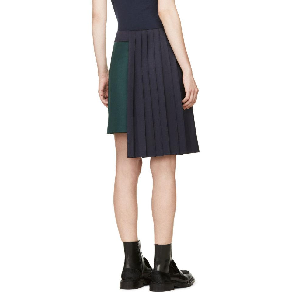 Evergreen and Navy Pleat Jumbar Skirt Mary Katrantzou Clearance Best Store To Get 3O2Asdy