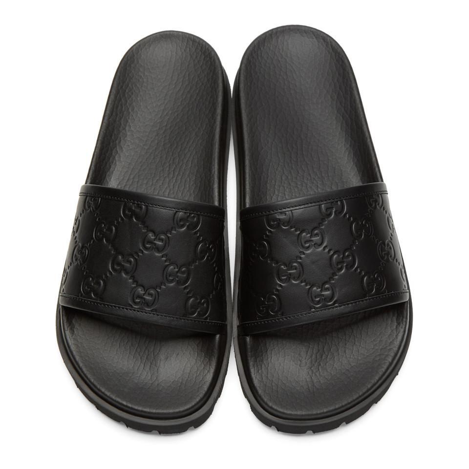 e001ceb0a9e5 Lyst - Gucci Black Pursuit Trek Slide Sandals in Black for Men