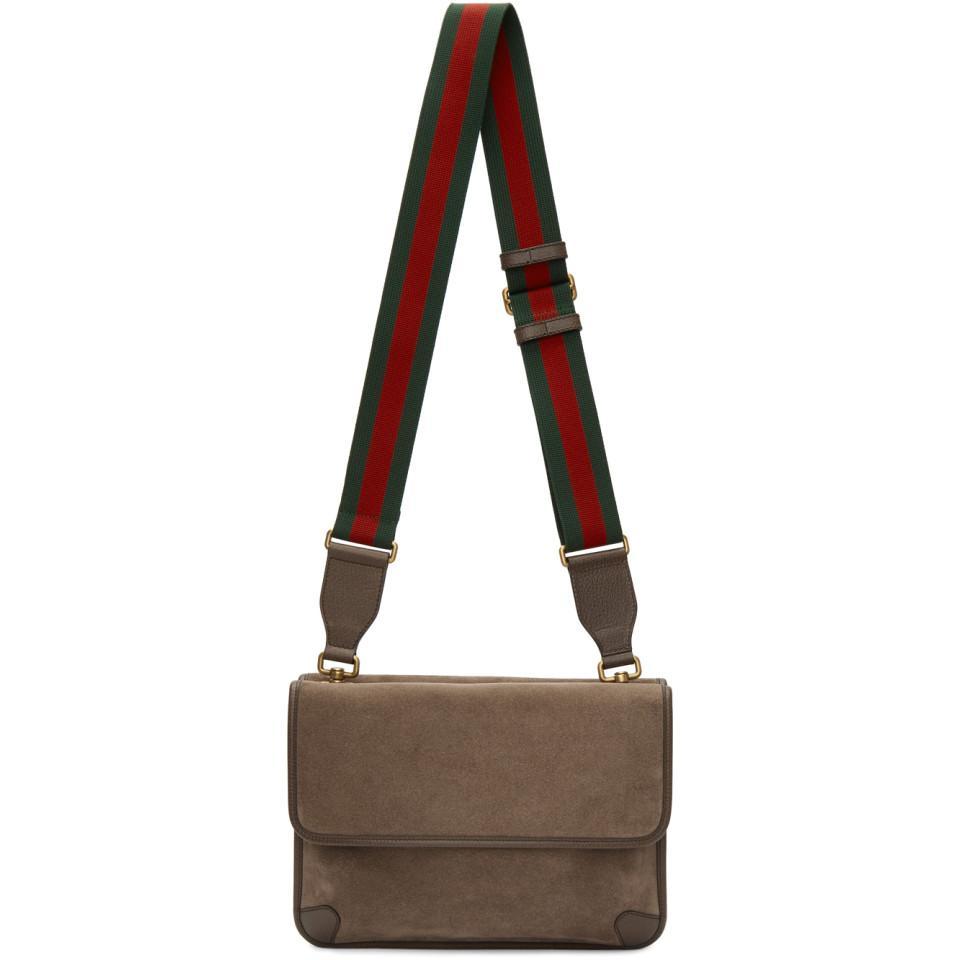 00165d657b Gucci Natural Beige Suede Neo Vintage Foldover Messenger Bag for men
