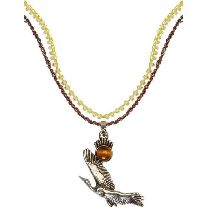 Lyst lanvin silver bird necklace in metallic for men gallery mozeypictures Image collections