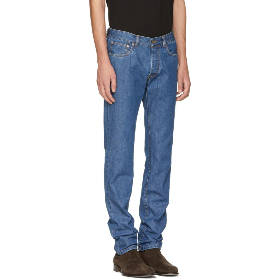 Brioni Denim Blue Slim Jeans for Men