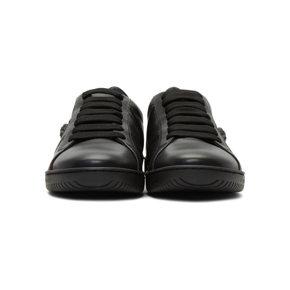 abbdd2643ec96 Lyst - Versace Black Leather Martin Sneakers in Black for Men