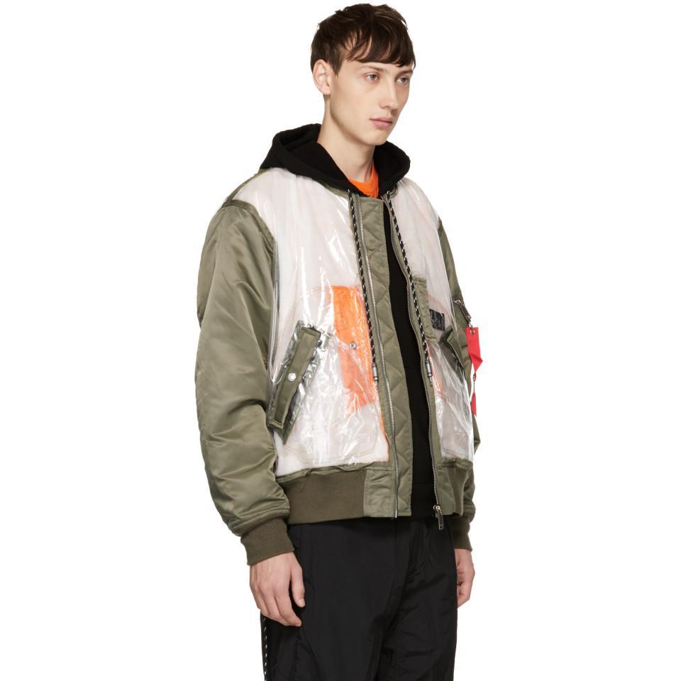 Christian Dada Synthetic Green Detached Flight Jacket for Men