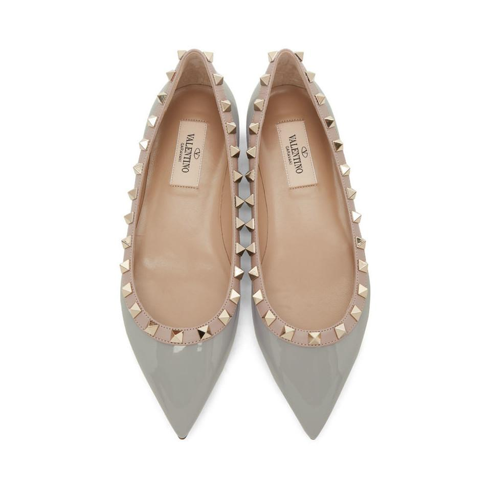 5d76fdc7d1ac Valentino - Gray Grey Garavani Patent Rockstud Ballerina Flats - Lyst. View  fullscreen