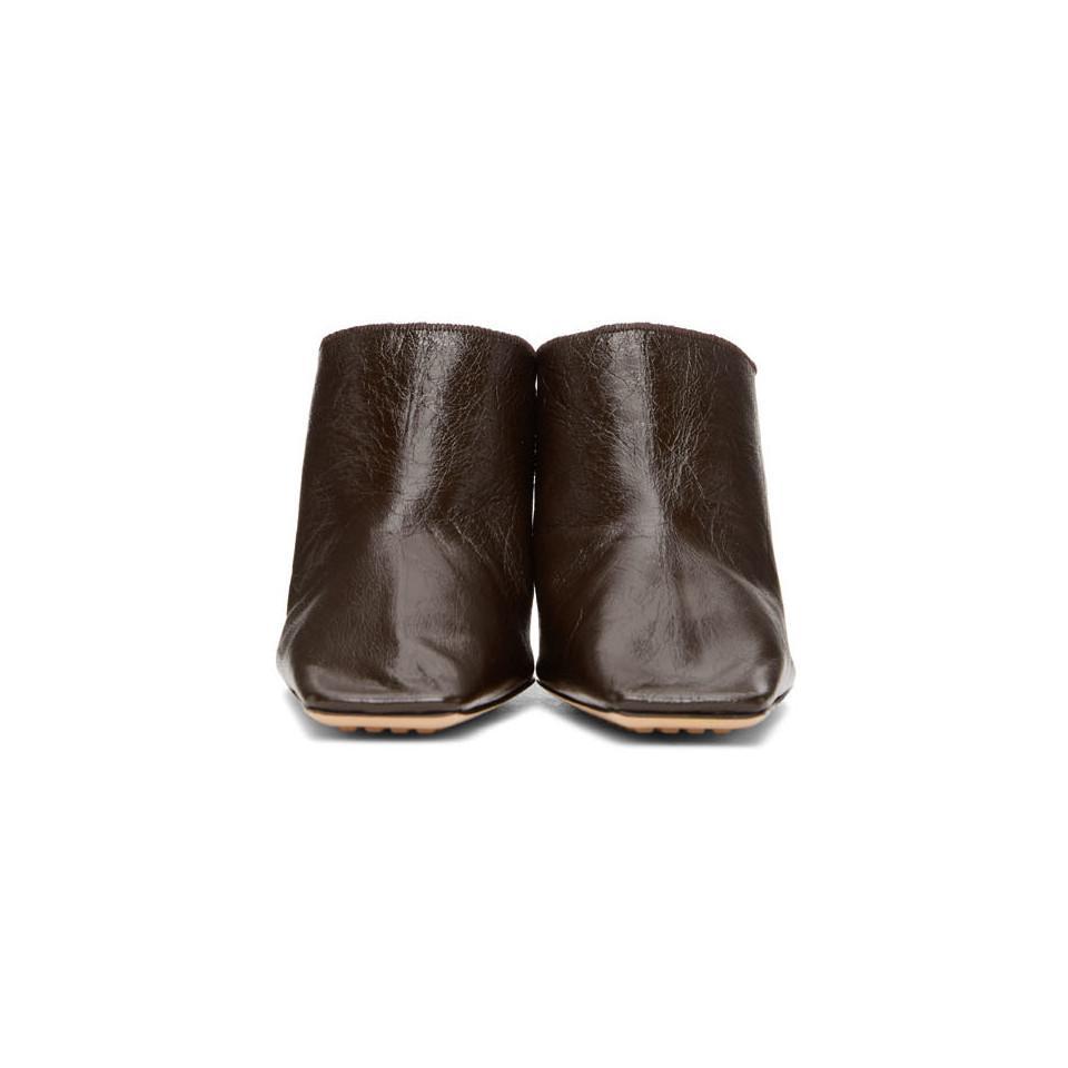 Bottega Veneta Snakeskin Embossed Strappy Heels In Brown