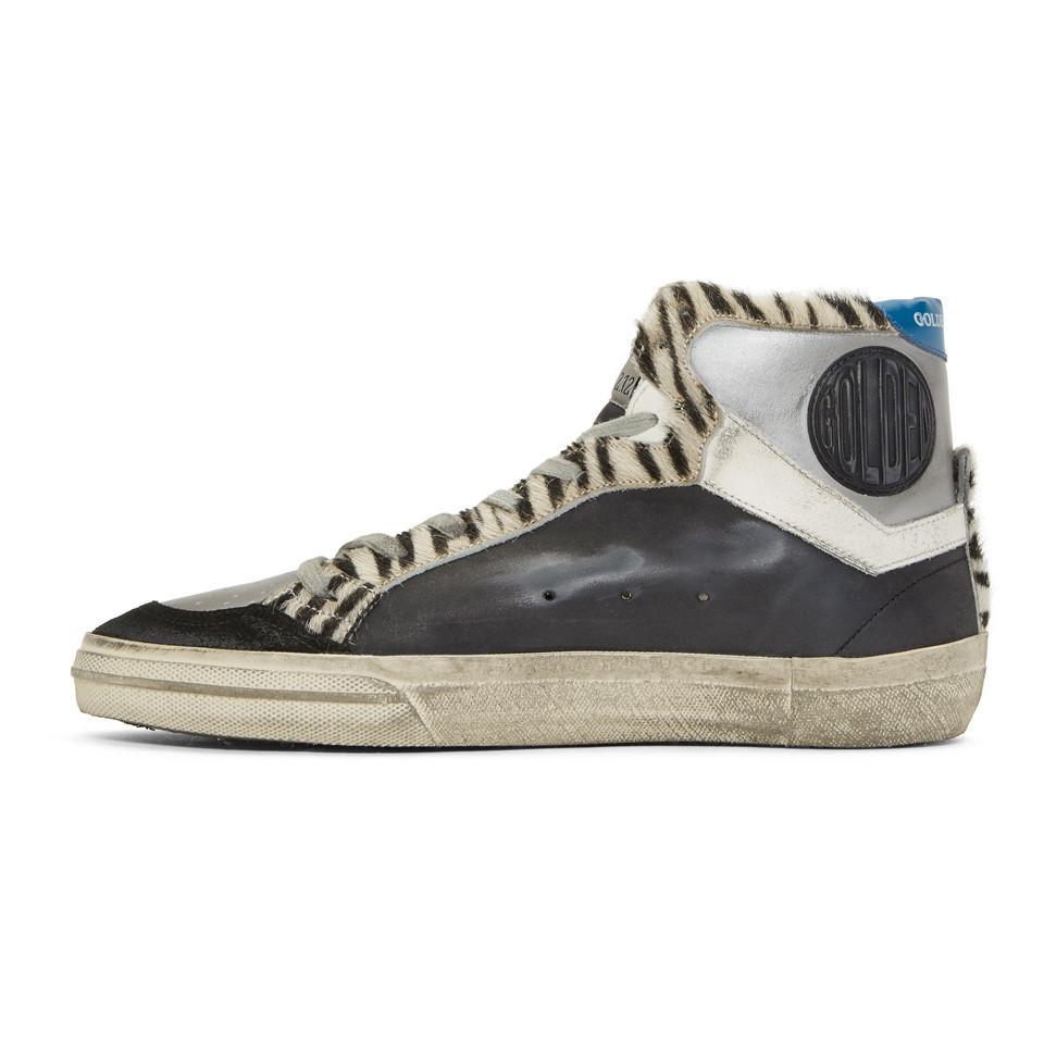 Black and Silver Zebra High-Top Sneakers Golden Goose geuIsgnvW