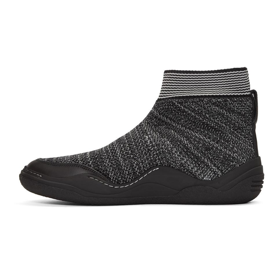 Lanvin Off- & Grey Knit High-Top Sneakers c6frWsPwI5