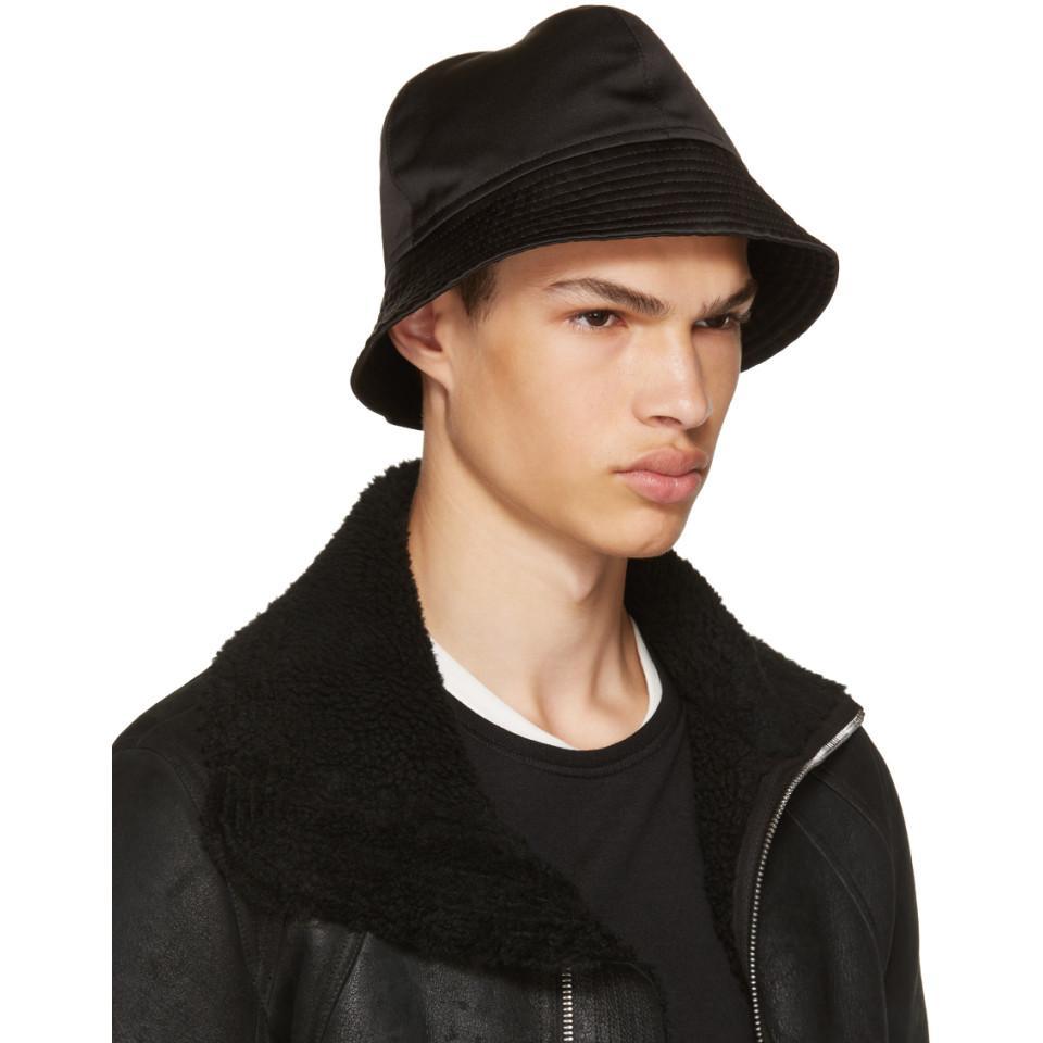 b330b5b8202 Lyst - Rick Owens Black Gilligan Bucket Hat in Black for Men