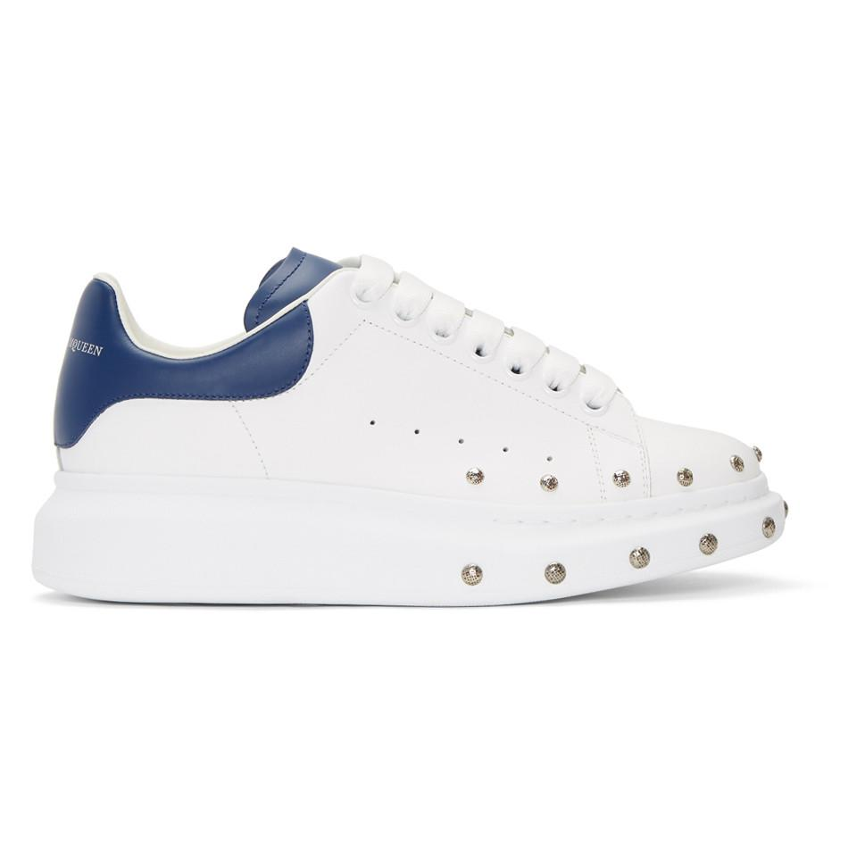 White and Blue Studded Oversized Sneakers Alexander McQueen DfyOTjS