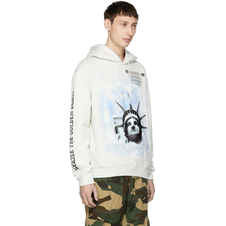050af28627aa Lyst - Pull a capuche blanc casse Liberty Off-White c o Virgil Abloh ...