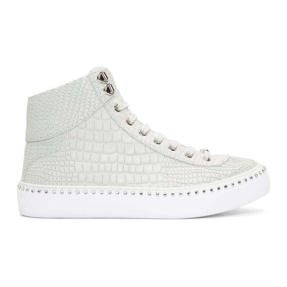 Jimmy choo Croc Crystal Argyle High-Top Sneakers 213Bu