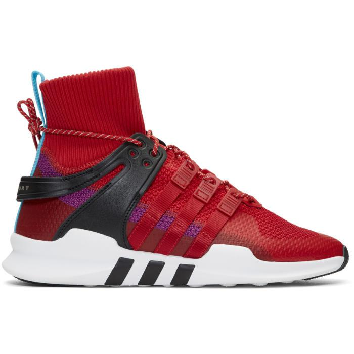 Red And Purple Eqt Support Adv Winter High-top Sneakers