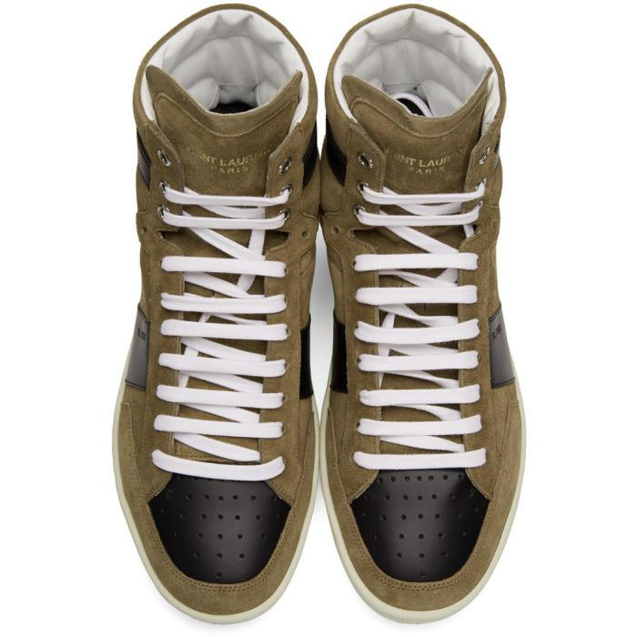 9c7afe0f61 Saint Laurent Brown Suede Sl/10h Court Classic High-top Sneakers for men