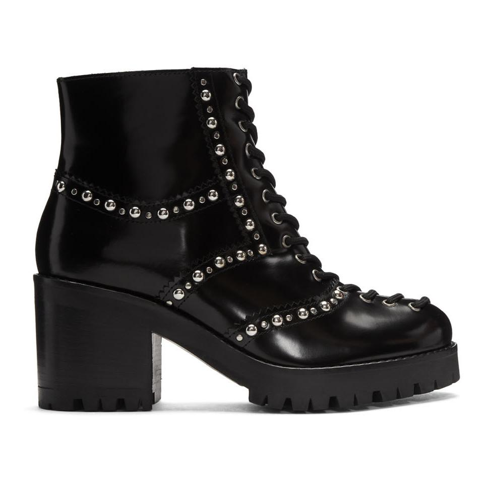 McQ Lace-up Chunky Boots in Black