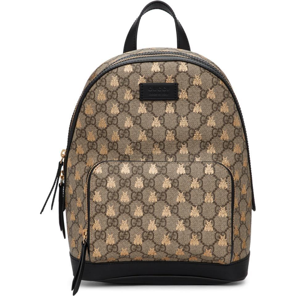 3a710cc7ebf Gucci Beige GG Supreme Bestiary Backpack in Brown - Lyst
