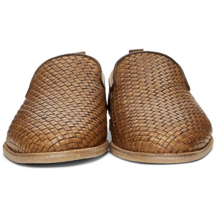 H by Hudson Leather Brown Woven Ipanema Loafers for Men