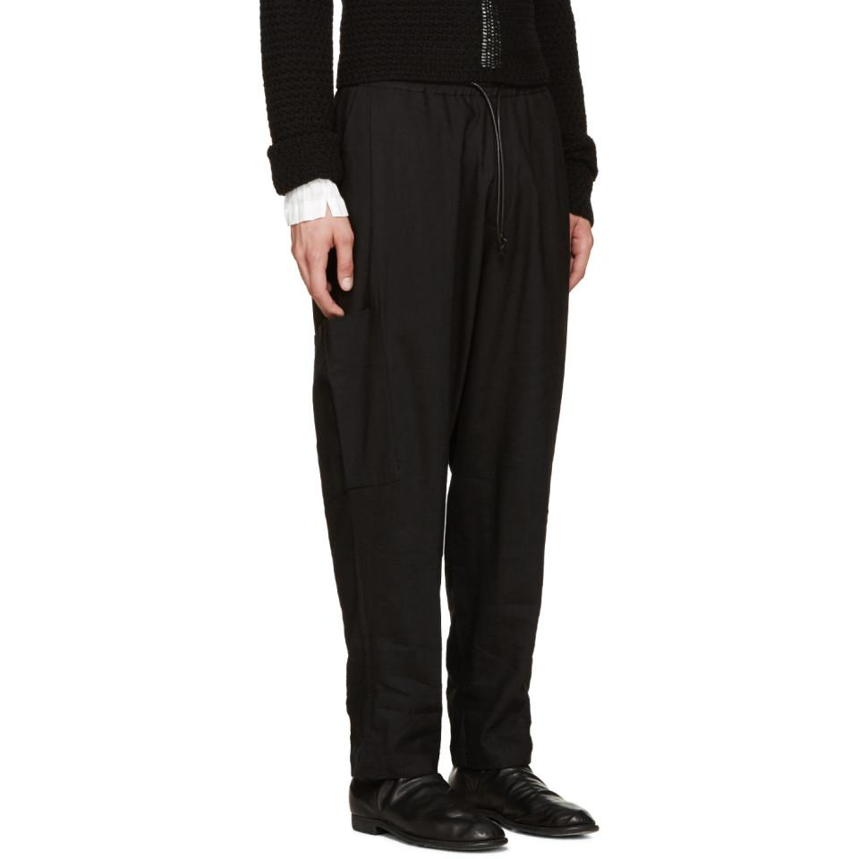 Isabel Benenato Black Coulisse Trousers for Men